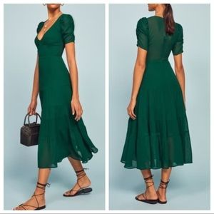 Reformation Cosa Midi Dress In Emerald Green